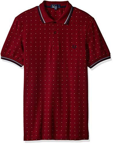 Fred Perry Polo Square Print Pique Bordeaux XS