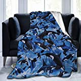 Killer Whales Orcas Ocean Sea Animals Fleece Throw Blanket 50' x 40', Soft Cozy Plush Microfiber Flannel Reversible TV Blanket, Home Decor Throws for Couch Sofa Bed Living Room