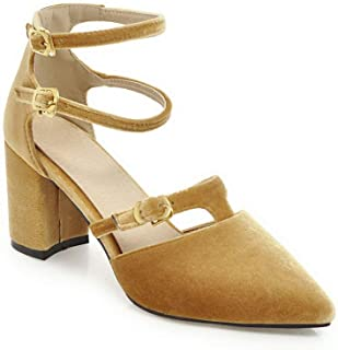 BalaMasa Womens ASL06477 Imitated Suede Block Heels