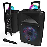 "Portable DJ Karaoke PA Speaker - Outdoor 700 Watt Stereo 12"" Subwoofer Built-in LED Lights Wireless Bluetooth Rechargeable Battery Audio Recording Mode & MP3/USB/Micro SD/FM Radio - Pyle PSUFM1280B"