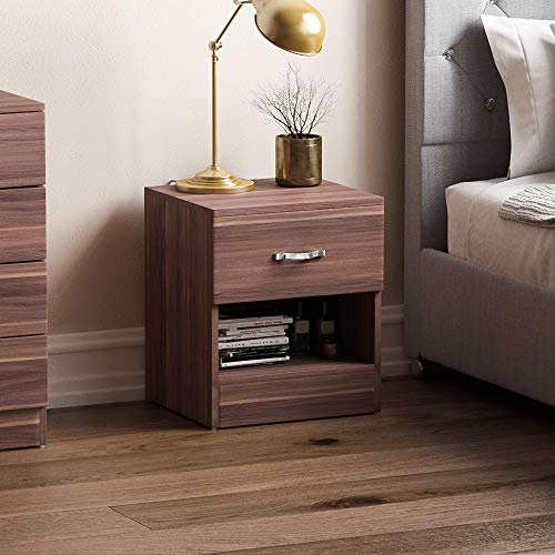 Vida Designs Walnut Bedside Cabinet, 1 Drawer With Metal Handles and Runners, Unique Anti-Bowing Drawer Support, Riano Bedroom Furniture