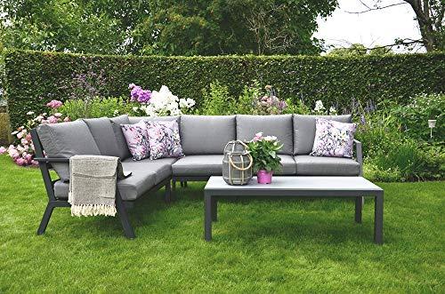 Lesli Living Lounge-Eckset mit Tisch im Keramik Look Marah aus Aluminium Sitzgarnitur Garten Loungesofa Gartenlounge Gartenset Eckloungeset Indoor Outdoor grau