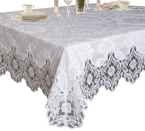 "Violet Linen Elegant Velvet Lace Sheer Floral Deluxe Design Tablecloth, 70"" x 216"", White"