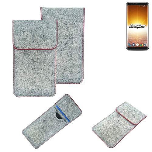 K-S-Trade Handy Schutz Hülle Für Energizer P600S Schutzhülle Handyhülle Filztasche Pouch Tasche Hülle Sleeve Filzhülle Hellgrau Roter Rand