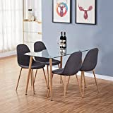<span class='highlight'><span class='highlight'>GOLDFAN</span></span> Dining Table and 4 Chairs Wood Style Rectangular Glass Kitchen Table and Fabric Chairs Dining Table Set, 120cm, Grey