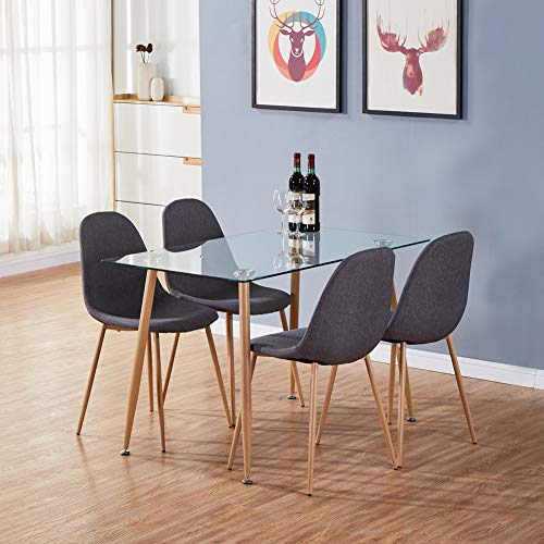 GOLDFAN Dining Table and 4 Chairs Wood Style Rectangular Glass Kitchen Table and Fabric Chairs Dining Table Set, 113cm, Grey