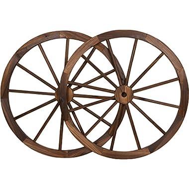 Decorative Vintage Wood Garden Wagon Wheel with steel Rim - 30  Diameter - by Trademark Innovations (Set of 2)