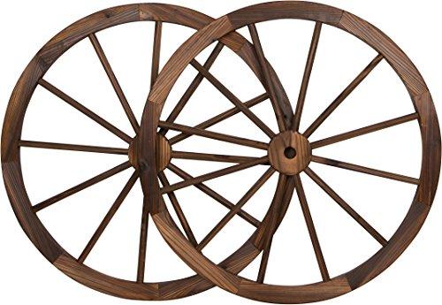 "Trademark Innovations Decorative Vintage Wood Garden Wagon Wheel steel Rim - 30"" Diameter (Set of 2)"