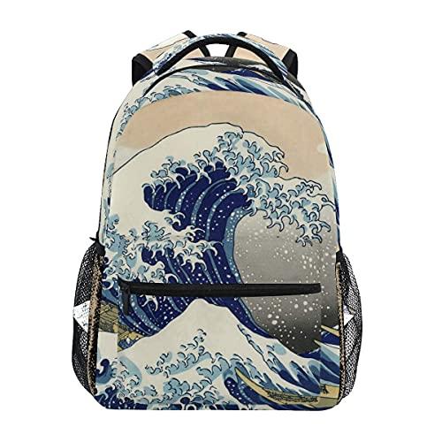 Mochila escolar The Great Wave Off Kanagawa Bookbag Travel Ruckack