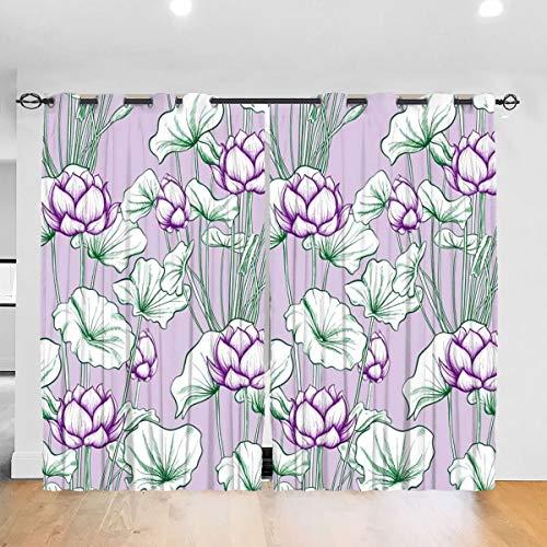 Vfgty369 Lotus Leaf Cortinas opacas para niños, utilizadas en habitaciones de aislamiento de dormitorios, cortinas estampadas oscurecidas para el cuidado de niños 132 x 183 cm