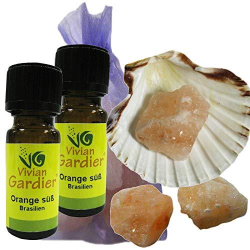 Orange süß ätherisches Öl naturrein 2 x 10ml aus kontrolliertem Anbau. 7 teiliges Aromatherapie Duft Set mit Muschel + 3 Salz Kristalle zum Beduften + Säckchen. 50001