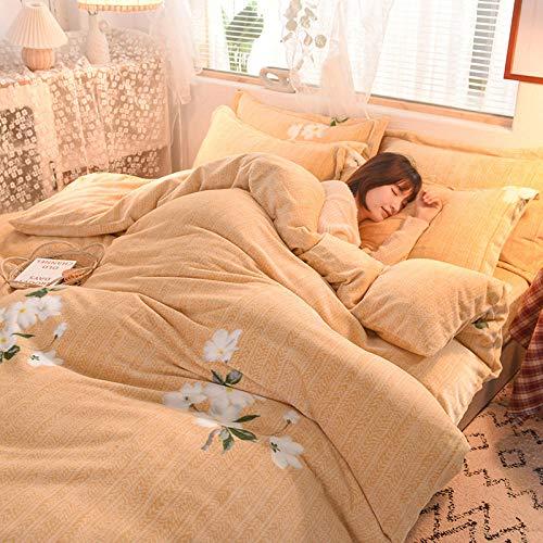 Juego de ropa de cama con funda de edredón-Funda de edredón de lana de coral de doble cara gruesa de invierno para mantener el calor más funda de edredón de hoja de vellón funda de almohada kit de ca