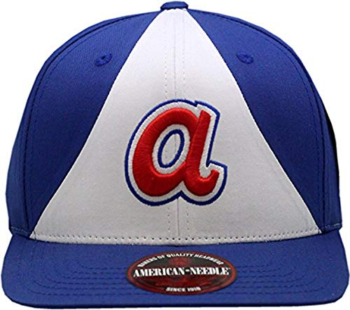 AMERICAN NEEDLE Atlanta Braves Snapback Flat Bill Outfield Blue