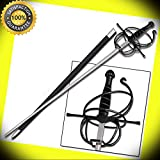 Renaissance Rapier Swept Hilt Medieval Fencing Sword Spiral Black perfect for cosplay outdoor camping