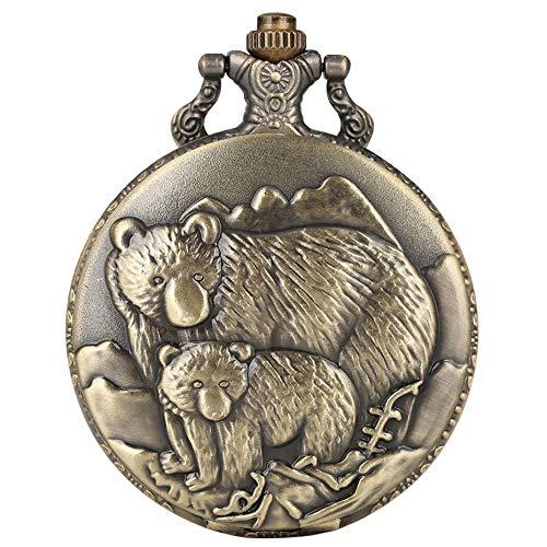 XVCHQIN Full Hunter Bronze Polar Bears Display Quartz Fob Pocket Watch Vintage Pendant Necklace Chain Retro Clock Gifts Kids Men Women,bronze
