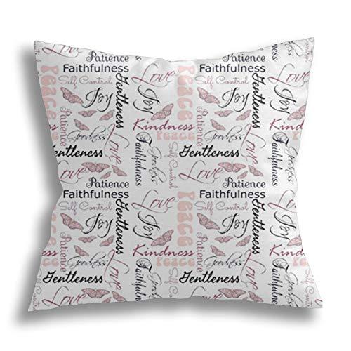 QTYVI Christian Fruit of The Spirit Butterflies Kissenbezug Baumwolle Home Decor Kissenbezug Quadratische dekorative...