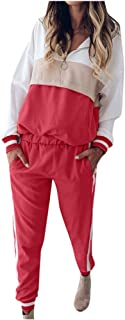 KAIXLIONLY Women Stripe Patchwork Two Piece Tracksuit Pullover and Long Pants Sweatsuits Set Sports Outfits