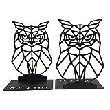 MsFun Decorative Bookends - Black Owl Farmhouse Decor - Geometric Metal Bookend - Book Ends for Heavy Books - Office Desk Organizer Book Holders (Black)
