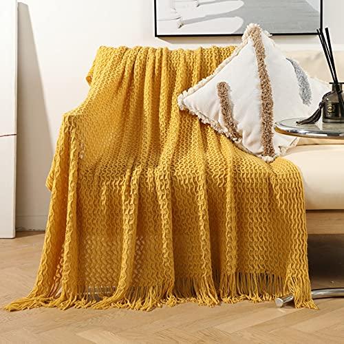 Zoomlie Manta de punto beige con flecos, 130 x 170 cm, acogedora, ligera, con textura, cálida, de lujo, para sofá, cama (amarillo, 130 x 220 cm)