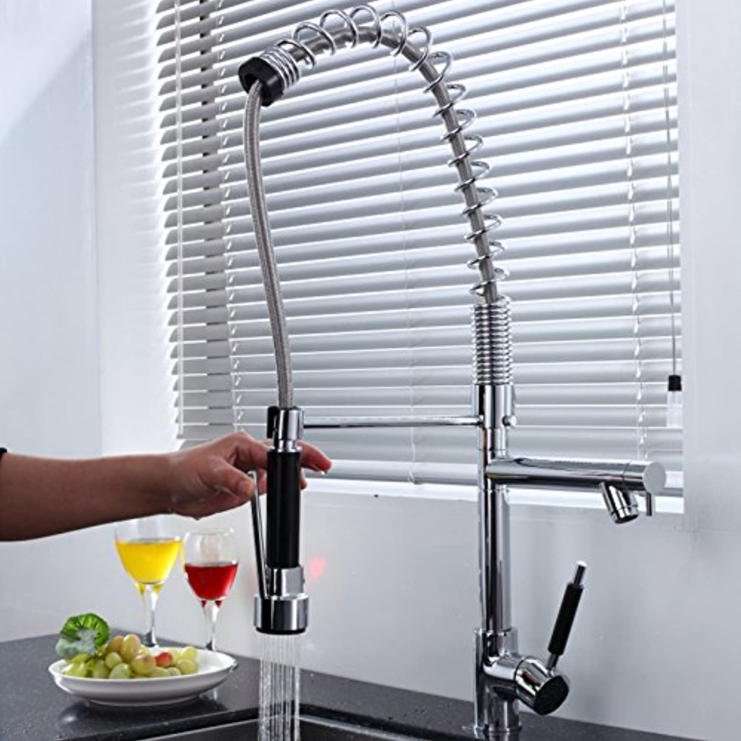 Mangeoo Spring pull type double out kitchen swivel faucet