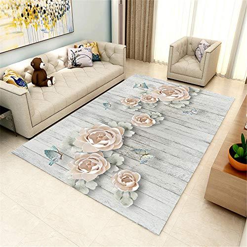 Kunsen Alfombra Comedor Grande Alfombra pequeña Dormitorio Sala de Estar Gris Alfombra patrón Floral Humedad habitacion Bebe 200X300CM 6ft 6.7' X9ft 10.1'