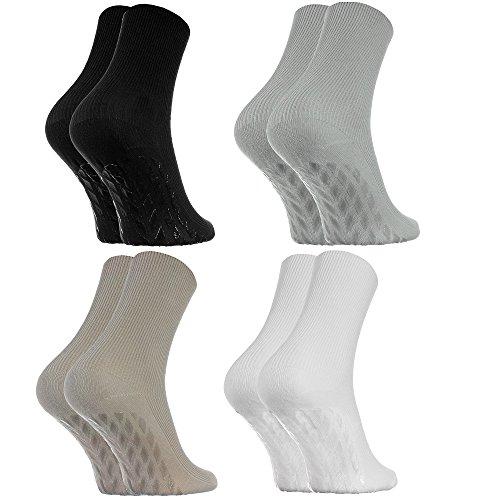 Rainbow Socks - Damen Herren Antirutsch Diabetiker Socken Ohne Gummibund ABS - 4 Paar - Schwarz Weiß Beige Grau - Größen 36-38