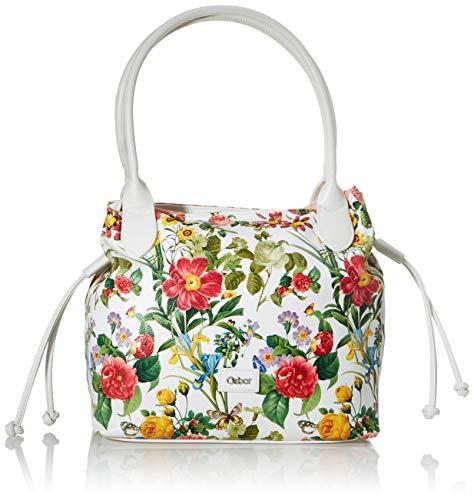 Gabor bags Umhängetasche Damen Granada Spring, Weiß (Blumenmuster), L, Handtasche, Tasche Damen