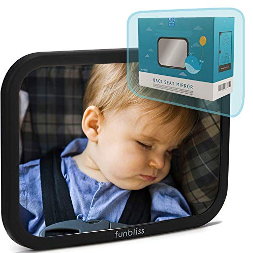 Baby Car Mirror for Back Seat Black -- Safely Monitor Infant Child in Rear Facing Car Seat,See Children or Pets in Backseat,Best Newborn Car Seat Accessories, Fully Assembled, Shatterproof