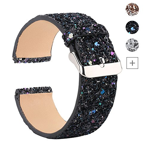 Moonooda Glitter Watch Bands Compatible with Samsung Galaxy Watch 46mm or S3 Frontier Classic Watch Band Bling Quick Release 22mm Strap Replacement for SamSung Galaxy Gear S4 Watch Black