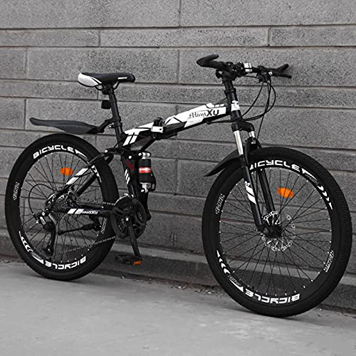 LHQ-HQ Mountain Bike Pieghevole Cross-Country 26 Pollici Doppio Ammortizzatore Una Ruota Studenti Maschi E Donne velocità Variabile Luce Bike-White