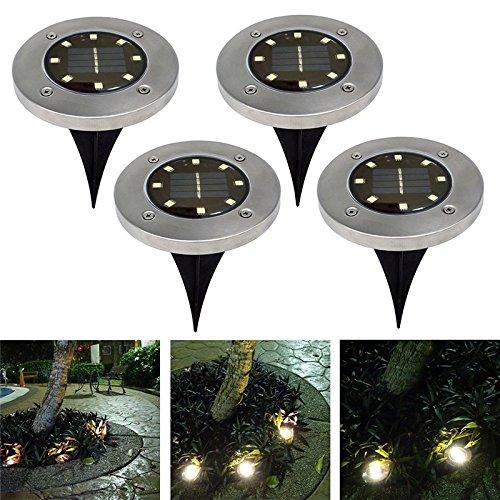 Oshide 4 Stück 8 LED Solarleuchten Garten Wasserdichte Solar Bodenstrahler Dunkel Sensorik-Landschaftslichter für Rasen Weg Hof Fahrstraßen Innenhof Gehweg Pool-Bereich (Warm)