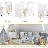 Gitterbett Babybett 2in1 60x120 mit Schublade Schlupfsprossen und Lattenrost Höhenverstellbar Umbaubar zum Juniorbett für Mädchen und Junge - Weiß - 5