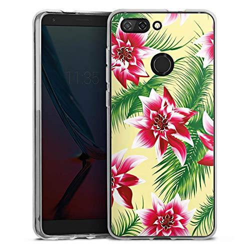DeinDesign Silikon Hülle kompatibel mit ZTE Blade V9 Hülle transparent Handyhülle Hawaii Sommer Blume