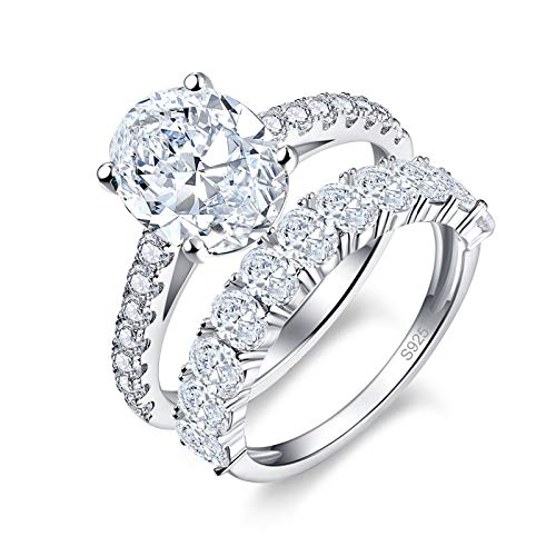 Bonlavie 1.0ct Oval Cut Cubic Zirconia Anniversary Wedding Band Solitaire Engagement Ring Bridal Sets 925 Sterling Silver Size J 1/2