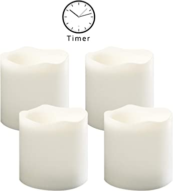 Outdoor Indoor Flameless Pillar Candles, 4 Pack Plastic Resin Battery Operated Electric LED Candle Sets with Cycling 24 Hours