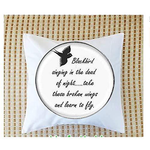 bab Funda de almohada con colgante de letra de canción de Blackbird Singing in the Dead of Night