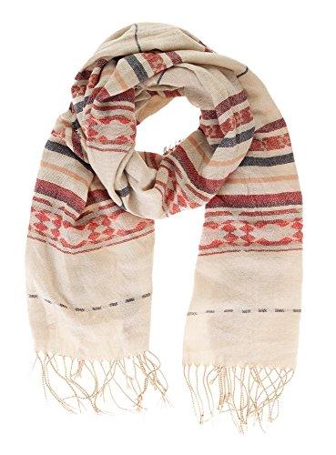 oodji Ultra Damen Schal mit Troddeln und Ethno-Druck, Elfenbein