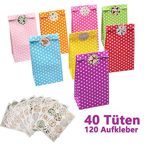 LAOYE 40 Papiertüten klein Geschenktüten Kindergeburtstag Mitgebsel Tüten 40 Stück Papier Candy Tüten mit 120 Aufkleber - Geeignet für Hochzeit Kindergeburtstag Ostertüten Candybag Tüten usw.