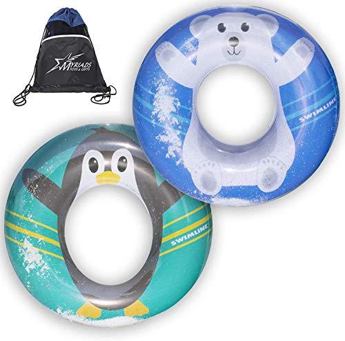 Swimline Set of 2: Penguin Flurry Ring and Polar Bear Flurry Ring with Myriads Drawstring Giftbag