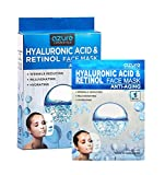 AZURE Hyaluronic Acid & Retinol Anti Aging Sheet Face Mask - Hydrating, Toning & Rejuvenating | Helps Reduce Fine Lines & Wrinkles | Smooths & Repairs Elasticity | Made in Korea - 5 Pack