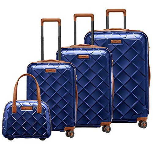 STRATIC Leather & More Koffer-Set 4-teilig Hartschalen-Koffer Trolley Rollkoffer Reisekoffer 4 Rollen TSA-Zahlenschloss (S,M,L, mit Beautycase) Blue…