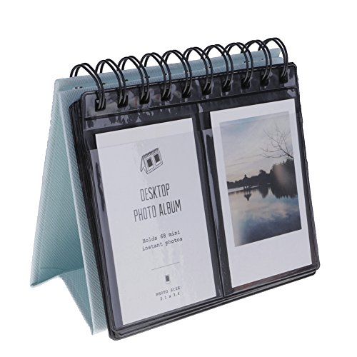 Kompassswc Fotoalbum Schreibtisch Kalender Album 68-Fotos Einsteckalbum für Polaroid,Instax Mini 70 7s 8 50s 90,3-Zoll Fotos (Blau)