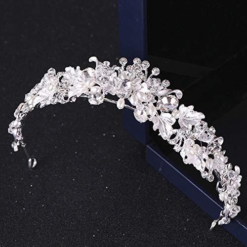 LLCUTE Tiara Hochzeit Krone,Silber Farbe Kristall Diademe Und Kronen Hochzeit Haarschmuck Brautkrone Tiara Diadem Hochzeit Kopfbedeckung Frauen Blatt Haarschmuck Für Mädchen Damen Bräute