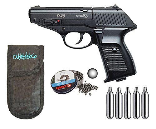 Outletdelocio. Pistola perdigon Gamo P-23 4,5mm. + Funda Portabombonas + Balines + Bombonas co2. 23054/29318/50523