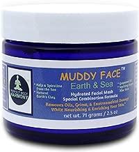 MUDDY FACE (Earth & Sea) Pre-Mixed (Hydrated) Spa Quality Facial Clay Mud Detox Mask, Organic Aloe Vera, Grapeseed Oil, Vit. C, Kelp & Spirulina Seaweed, Minerals, Kaolin & Bentonite Clay, 2.5 oz Jar