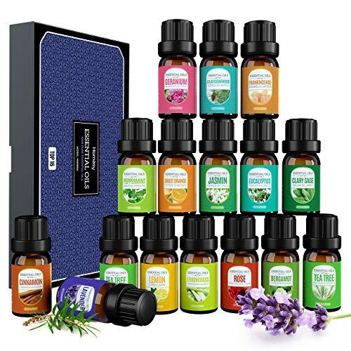 Homasy 16 x 5ml Ätherische Öle Set, 100% Rein Duftöl für Diffuser Luftbefeuchter, Aromatherapie Duftöl Geschenk Set, Massageöle Geschenkset, Lavendel, Süßorange, Teebaum, Zitronengras usw.