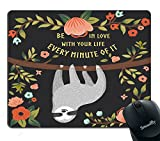 Smooffly Funny Sloth Mouse Pad, Cute Animal Baby Sloth on Tree Gaming Mouse Pad 9.5 X 7.9 Inch (240mmX200mmX3mm)