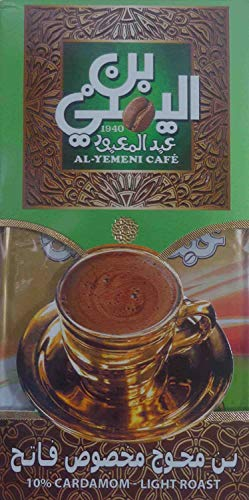 EL - Yemeni EL Yemeni ELYemeni Original Turkish Coffee Cafe Arabic Arabian Arabica Ground Roasted Mud Coffee ( 10 % Cardamom Light Roast 7 oz / 200 gm )