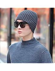 QNN Sombreros de Invierno, Beanie Hat Sombreros Cálidos a Rayas para Hombres Beanie Mujeres de Punto Bay Bonnet Girl Gorros de Invierno,Gris