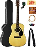 Yamaha F325D Dreadnought Acoustic Guitar Bundle with Hard Case, Tuner, Strings, Strap, Picks, Austin Bazaar Instructional DVD, and Polishing Cloth
